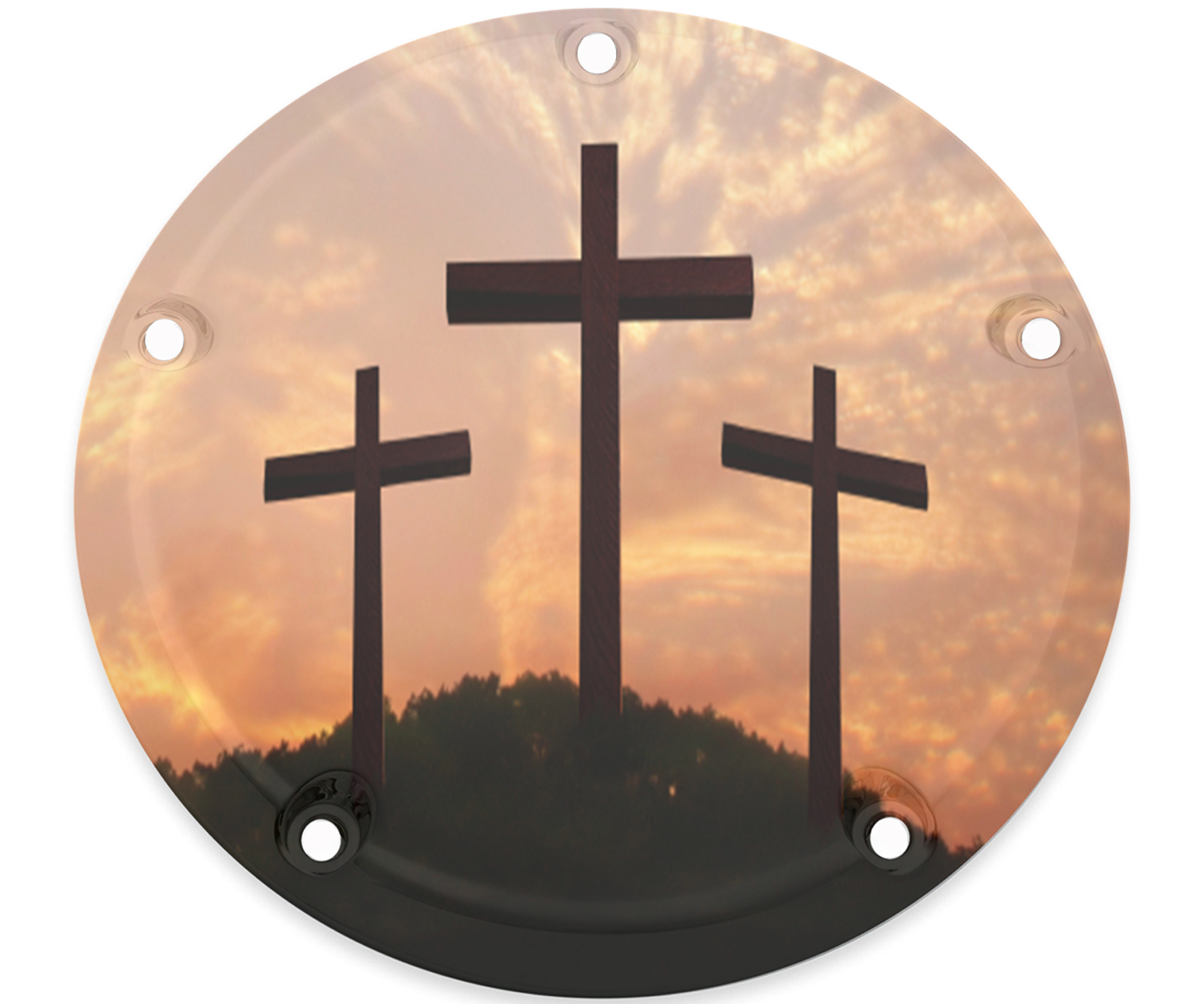 Harley Davidson Custom Horn cover 3 crosses orange sky