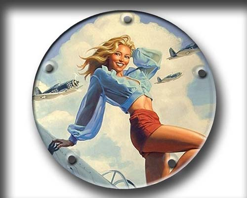 Harley Davidson Custom Derby Cover - Bomber Pin Up
