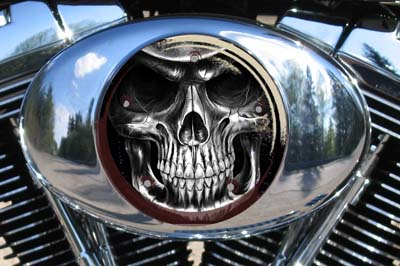 Harley Air Cleaner Cover - Black & White Reaper