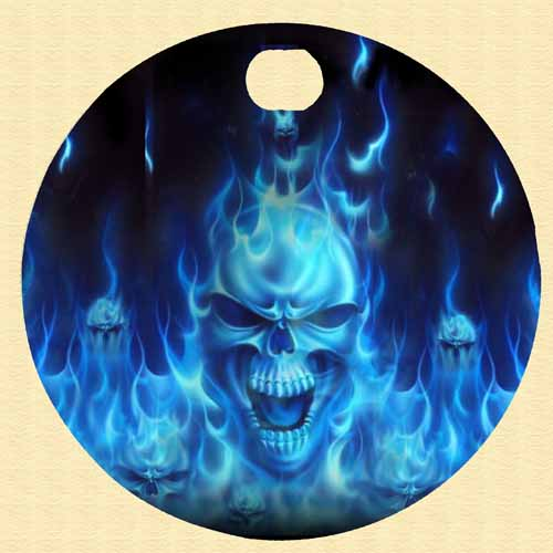 Harley Davidson Custom fuel door - Blue Flame SKULL