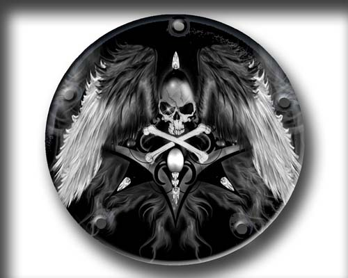 Harley derby Cover - Scull with Wings