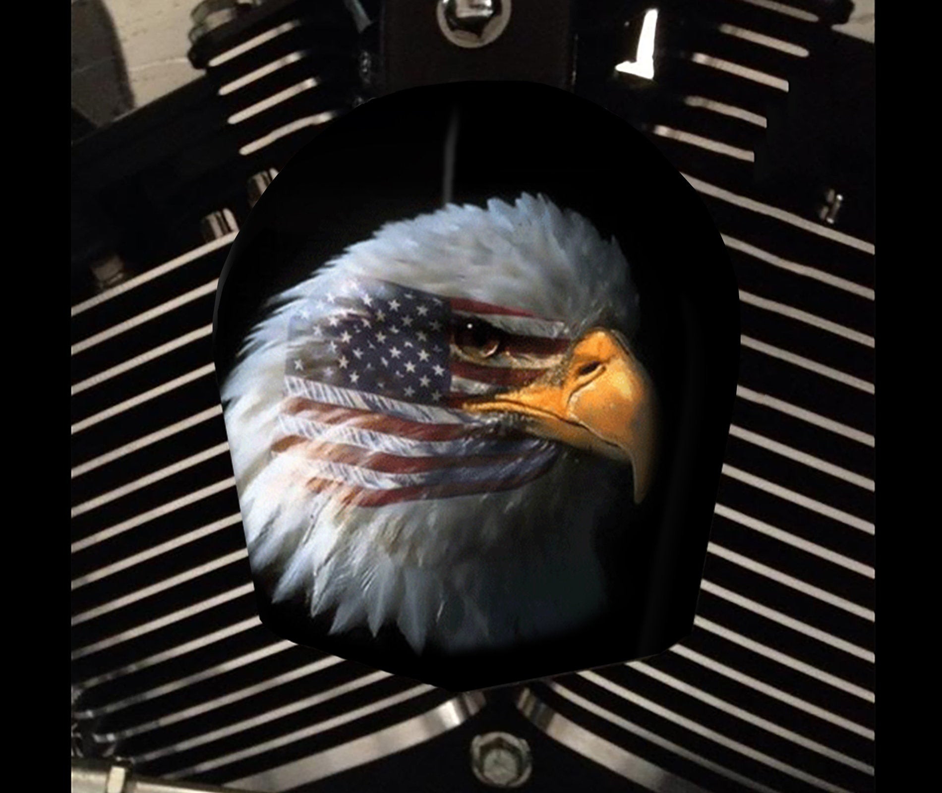 Custom Harley Davidson Horn Cover - eagle flag 2