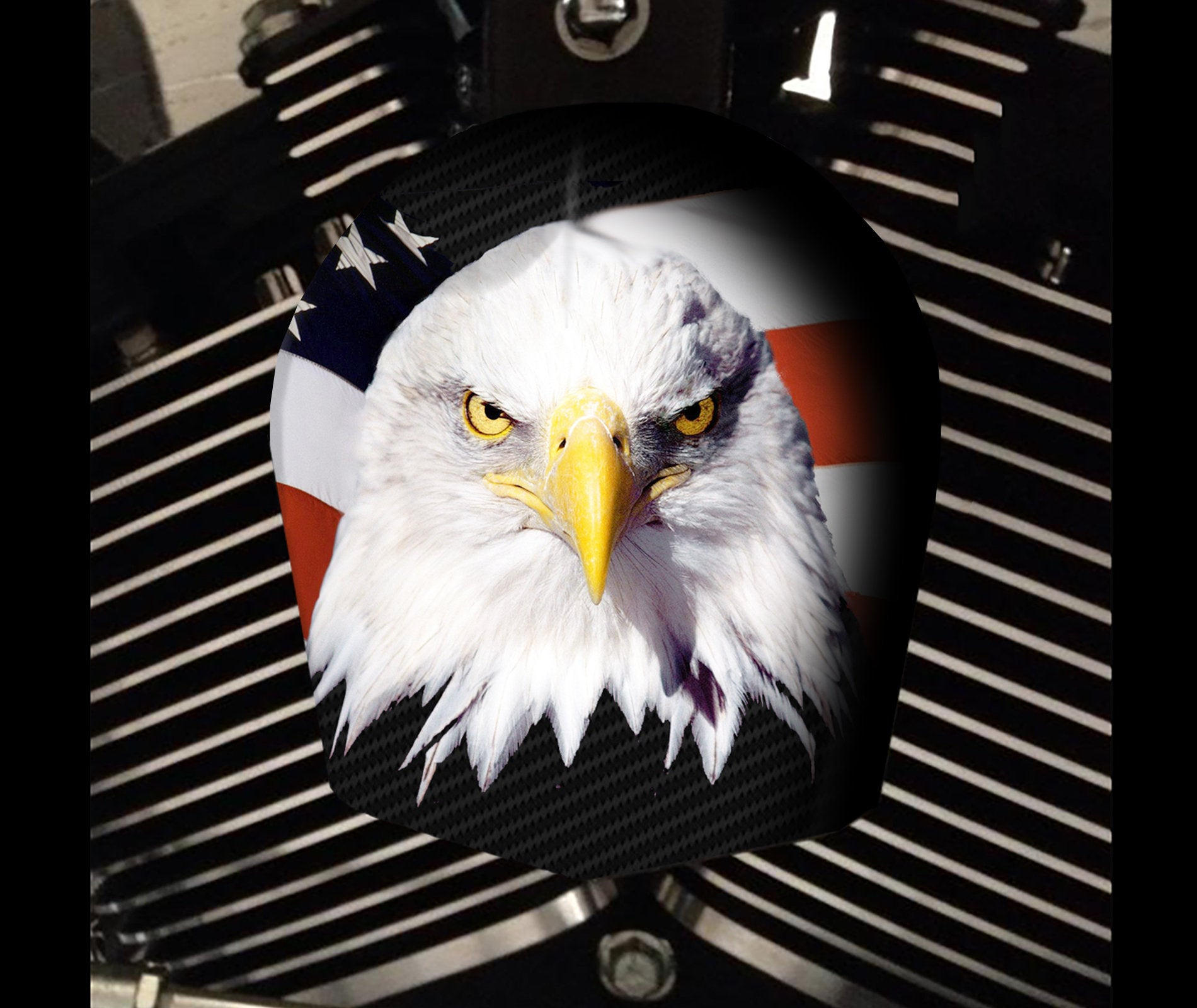 Custom Harley Davidson Horn Cover - eagle flag 1